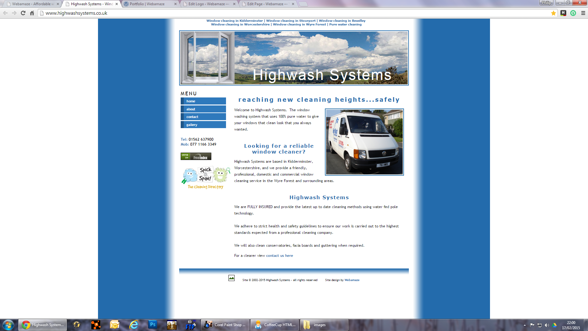Highwash Systems - This site was created for a Kidderminster based window cleaner. It was created using HTML markup