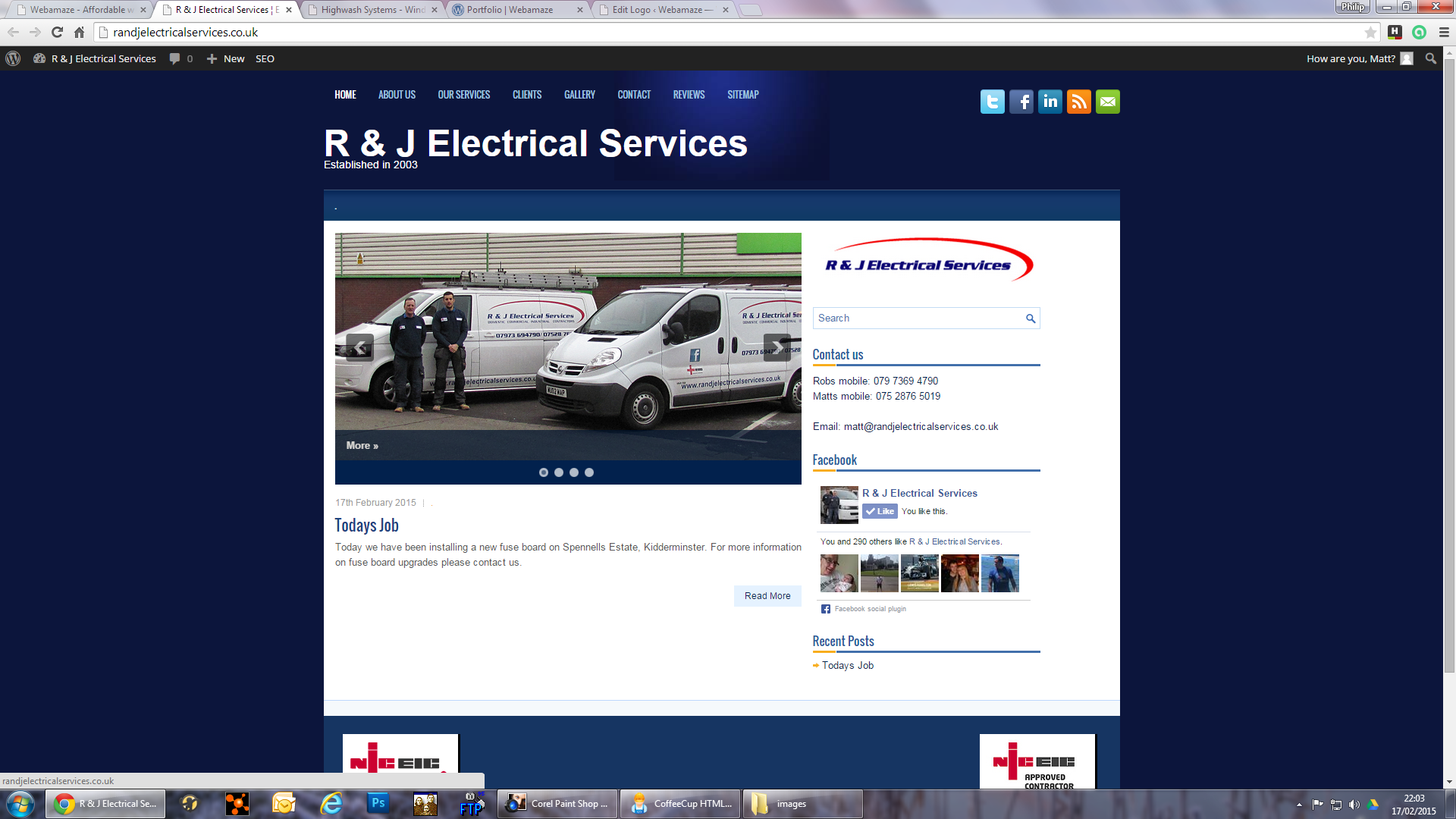 R & J Electrical Services - This is an updated website using Wordpress for a long standing client