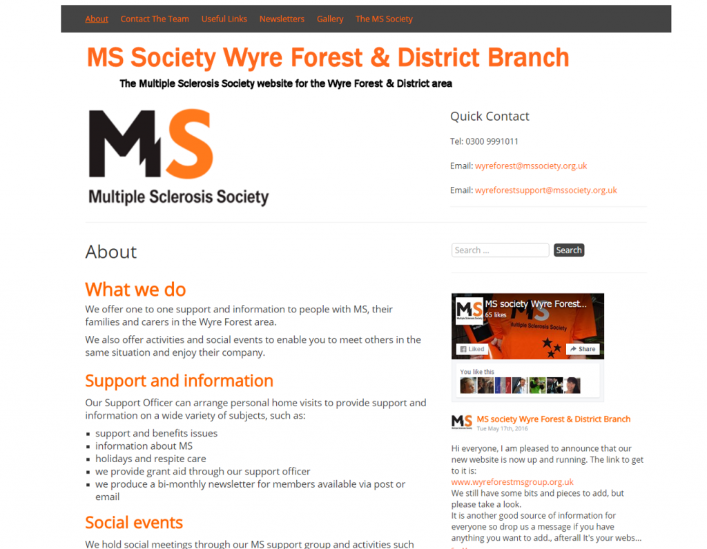 MS Society Wyre Forest & District Branch : www.wyreforestmsgroup.org