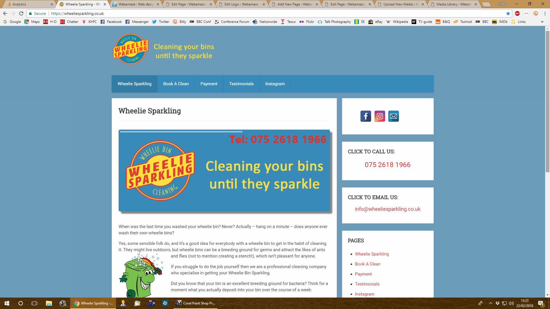 Wheelie Sparkling - A start up company in Stourbridge wanted a simple and quick to use website for their wheelie bin cleaning company. They asked for colours to match their logo without being too bright and over the top.